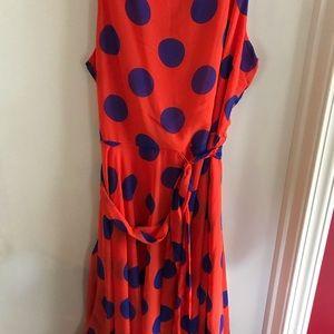 Cato orange & blue polka dot dress